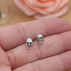 Gothic Sterling Silver Skull Bar Earings //Price: $17.95 & FREE Shipping //     #The_Goth_Life