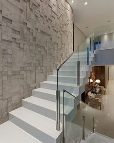 50 modern stairs that can completely change your interior! Pedestal stairs white high gloss railing glass steel wall cladding stone look Home Stairs Design, Railing Design, Interior Stairs, Modern House Design, Home Interior Design, Interior Modern, Escalier Design, Glass Stairs, Glass Railing