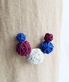 Christmas Gift for Knitters, Yarn Ball Necklace Polymer Clay Yarn Clew jewelry Knit Knitting Necklace New Year Jewelry Italy flag necklace by BrightBlooming