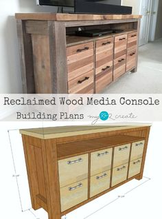 Reclaimed Wood Media Console with Free plan Building Furniture, Diy Furniture Projects, Wood Projects, Furniture Makers, Hanging Storage Shelves, Dvd Storage, Storage Rack, Reclaimed Wood Media Console, Tv Stand Plans