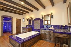 I like this bathroom because it has a big walk-in shower and a big tub i like that it has a big counter too.