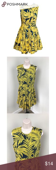 H&M 12 Leaf Print Sleeveless Blue & Yellow Dress H&M Leaf Print dress Size 12 Sleeveless Blue & Yellow print Zipper detail up the back GREAT condition!   length - approx 32 inches armpit to armpit - approx 18 inches H&M Dresses
