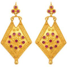 Ruby Gold Shield Dangle Earrings .......... $3,000