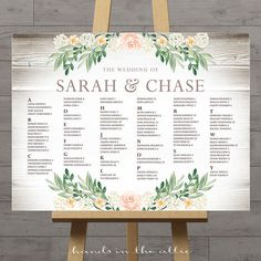 Rustic seating charts for weddings chart ideas poster wedding table seating chart printable floral board DIGITAL by HandsInTheAttic