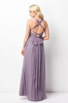 Size 6 Heather Wtoo 244 Bridesmaid Dress with Convertible Neckline- BACK VIEW
