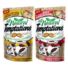 Whiskas All Natural Temptations Cat Treats Beef Tenderloin Flavor and Free Range Chicken, 3oz each
