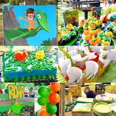 """Dinosaur First Birthday! Dinosaur Train photo prop, dino cakes, dino egg balloons that you """"crack"""" for a surprise, and Roar centerpieces"""