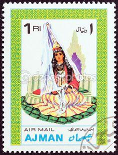 Emirato de Ajman - circa 1968: un sello impreso en Emiratos Árabes Unidos de la edición de