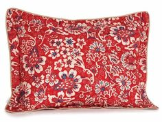 Ralph Lauren Red Floral VILLA MARTINE NEW Pillow Sham Standard Cotton Bedroom #RalphLauren