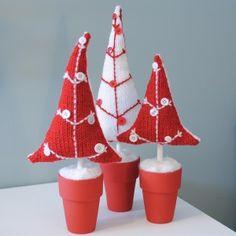 Mini fabric Christmas trees in tiny pots - adorable!