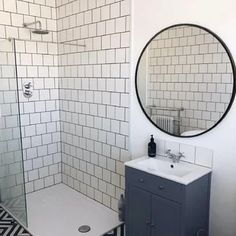 Latitude Run Lafon Modern & Contemporary Wall Mounted Bathroom/Vanity Mirror Size: x Finish: Black Mirrors For Sale, Round Mirrors, Single Bathroom Vanity, Modern Bathroom, Master Bathroom, Downstairs Bathroom, Bathroom Wall Decor, Bathroom Ideas, House