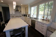 Kitchen Remodel with Wood Floor in the whole house #LuxuryKitchen Remodel #Custom Cabinets