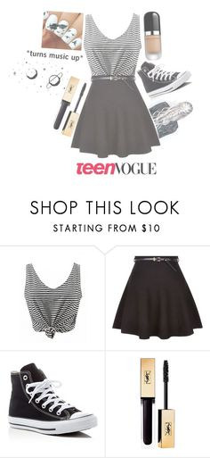 """Plz do not collect the teen vogue sign."" by shazzaandme ❤ liked on Polyvore featuring New Look, Converse and Marc Jacobs"