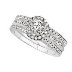 14K White Gold Wedding Set.    http://www.thediamondstore.com/products/engagement-rings/14k-white-gold-vintage-wedding-set-%7C-ash23671m/6-693