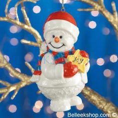 Belleek Snowman Joy - Christmas Tree Ornament