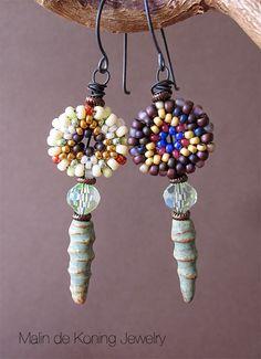 Earrings by Malin de Koning. Beading by Malin de Koning: And more earrings