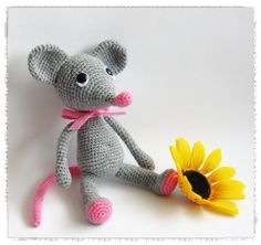 This Little Mouse is very simple to make.You just need to know basic crochet stitches,grey and pink yarn,crochet hook,safety eyes,needle f...