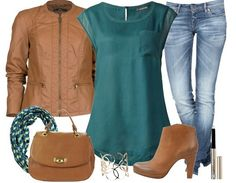 marron turquoise - Tenue Décontractée - stylefruits.fr Smart Casual Outfit, Casual Outfits, Cute Outfits, Boho Fashion, Fashion Looks, Fashion Outfits, Womens Fashion, Turquoise Clothes, Blue Jean Outfits