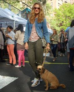 Street Chic: Easy Spring Style...denim jacket...striped shirt...high-top sneakers & a loyal pooch ..American classics