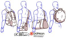 Drawing Tips Bags reference sheet by Kibbitzer - Drawing Reference Poses, Design Reference, Drawing Tips, Hand Reference, Anatomy Reference, Drawing Base, Figure Drawing, Backpack Drawing, Art Sketches