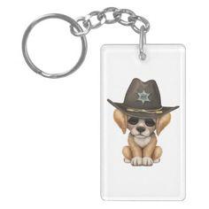 #Cute Golden Retriever Puppy Dog Sheriff Keychain - #golden #retriever #puppy #retrievers #dog #dogs #pet #pets #goldenretriever