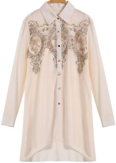 Apricot Long Sleeve Embroidered Chiffon Blouse 22.50