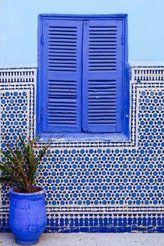 blue windows and tiles , Marrakech, Morocco Bleu Indigo, Moroccan Style, Moroccan Blue, Moroccan Theme, Blue Aesthetic, Belle Photo, Design Hotel, Shades Of Blue, Color Inspiration