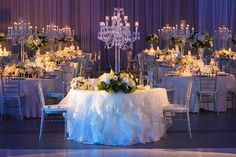 wedding table - lots of candelabras