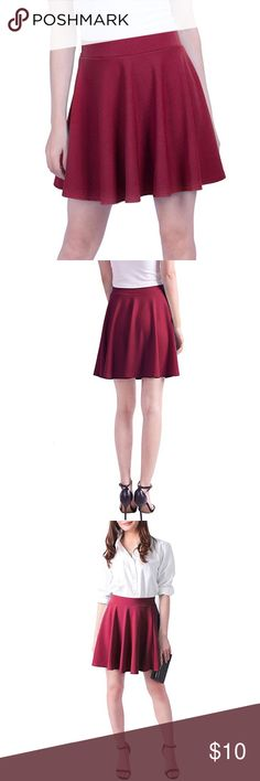 Burgundy wine skater skirt elastic waist size M Burgundy/merlot colored flowy skater skirt in size M. Only worn a handful of times! Seller is a nonsmoker. Price is firm for this item, no lowballing please! Skirts Mini