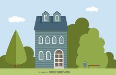ilustración clásica casa