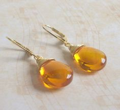 Wire Wrapped Yellow Orange, Smooth Glass Briolette and 14K Gold-Plated Lever Back Earrings - Glow (Amber)