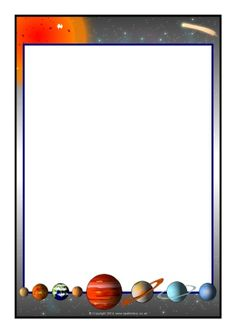 Solar System Page Borders Frame Border Design, Boarder Designs, Page Borders Design, Page Boarders, Boarders And Frames, Flower Border Clipart, Free Printable Stationery, Printable Labels, Picture Borders