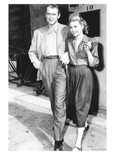 James Stewart and Grace Kelly on the set of Rear Window, 1954.