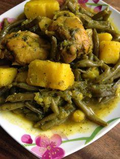 Tagine à la marocaine, poulet, haricots verts, pommes de terre