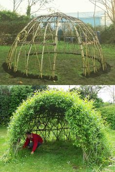 Japanese Garden DIY living functional garden decorations & low cost outdoor structures: magical grass sofa fun bean teepee beautiful grape & rose arches willow dome & fence etc! A Piece of Rainbow Unique Garden Decor, Unique Gardens, Amazing Gardens, Garden Decorations, Rainbow Decorations, Cool Garden Ideas, Diy Backyard Ideas, Garden Design Ideas, Outdoor Garden Decor