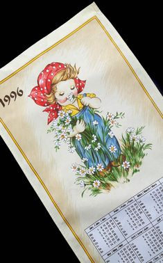 Vintage Towel Calendar 1996 Kitchen Girl with flowers Girls With Flowers, Towel, Calendar, Kitchen, Vintage, Girls, Cuisine, Home Kitchens, Life Planner