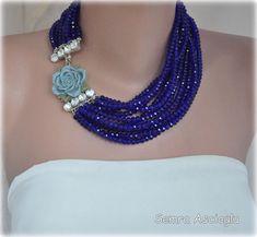 2014 Parliament Blue Crystal Multistrand Bib by HMbySemraAscioglu, $224.00