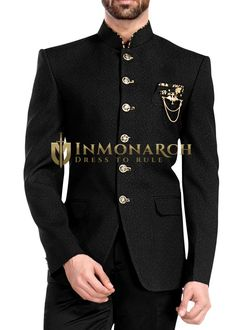 Partywear 6 button neck piping Jodhpuri suit pc (Jacket, Pant, Brooch, Pocket square) made from black color self design polyester fabric. It has bottom as matching black polyester trouser . Mens Fashion 2018, Indian Men Fashion, Best Mens Fashion, Mens Fashion Suits, Sport Fashion, Mens Suits, Wedding Dresses Men Indian, Wedding Dress Men, Wedding Suits
