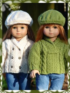 "Bria, a shawl collared cardigan and sweater knitting pattern for American Girl Dolls/18"" Gotz Dolls. $4.75, via Etsy."