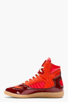 MAISON MARTIN MARGIELA Red Leather Panelled High-Top Sneakers