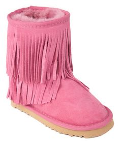 Loving this MOMO Grow Pink Dahlia Fringe Shearling Boot on #zulily! #zulilyfinds