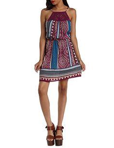 Crochet-Bib Tribal Print Dress