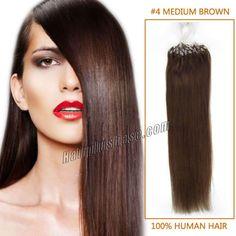 26 Inch #4 Medium Brown Micro Loop Human Hair Extensions 100S