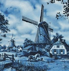 Ceramic collectible scenic tile made in Holland featuring a Dutch scene of a pasture with a horse and windmill which is painted by famous Dutch landscape artist JC van Hunnik. - Approximate Dimensions