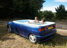 wowI love this! Shiny Sedan Transformed into a Fully-Functioning Jacuzzi Tub. unconventional, but that's part of its charm. The interior of the sedan has been retrofitted to accommodate all of the working parts needed for the pool. It's designed so that the vehicle's exterior panels, wheels, and trunk make up the jacuzzi shell. http://workingservice.nl/