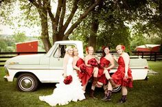 Fun Bridesmaids and Bride Photo  Red and Brown Rustic Country Wedding