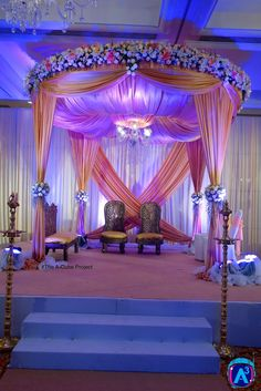 Graceful Mandap Decor by The A-Cube Project, Chennai Simple Birthday Decorations, Wedding Stage Decorations, Engagement Decorations, Reception Stage Decor, Wedding Stage Design, Haldi Ceremony, Wedding Mandap, Pink Themes, Quinceanera Party