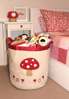 Super sweet mushroom storage hamper by Speckled House! Create the perfect magical space for your little girl while also keeping her room tidy and looking stylish! Made from cotton canvas with mushroom applique made from felt with cotton stitching Toy Storage Bins, Kids Storage, Storage Baskets, Baby Shop Online, Store Online, Kids Online, Online Shopping, Educational Toys For Kids, Kid Spaces