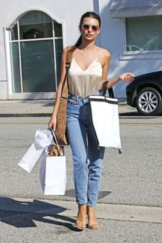 85 celebrity denim and jeans outfit ideas to try: Emily Ratajkowski pairs a slip cami with jeans