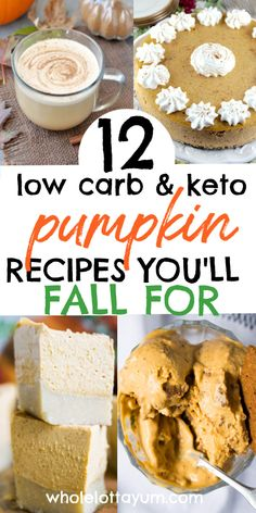 The 12 BEST low carb Keto Pumpkin recipes you NEED for your keto holiday recipes this year like Halloween and Thanksgiving! Includes keto pumpkin muffins, Keto Pumpkin cheesecake, Keto Pumpkin pie, Keto Pumpkin spice bullet coffee and more! Carbs In Pumpkin, Keto Pumpkin Pie, Pumpkin Dessert, Pumpkin Spice, Low Carb Pumpkin Cheesecake, Keto Cheesecake, Low Carb Desserts, Low Carb Recipes, Dessert Recipes